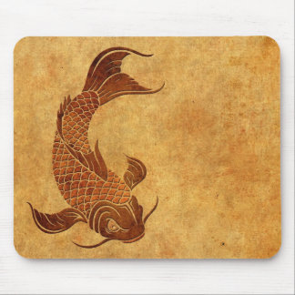 Vintage Worn Koi Fish Design Mouse Pad