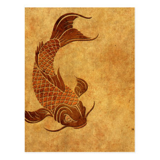 Vintage Worn Koi Fish Design Postcard