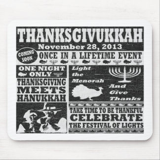 Vintage Worn Thanksgivukkah Poster Mouse Pad