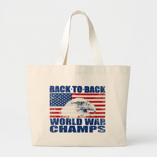 Vintage Worn World War Champs Eagle & US Flag Canvas Bags