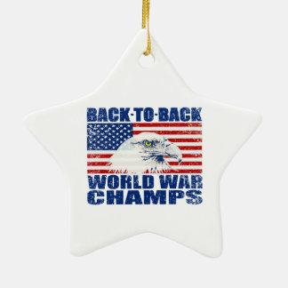 Vintage Worn World War Champs Eagle & US Flag Ceramic Star Decoration