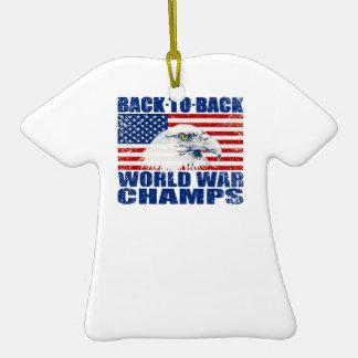 Vintage Worn World War Champs Eagle & US Flag Ornaments