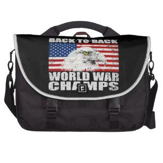 Vintage Worn World War Champs Eagle US Flag Bags For Laptop