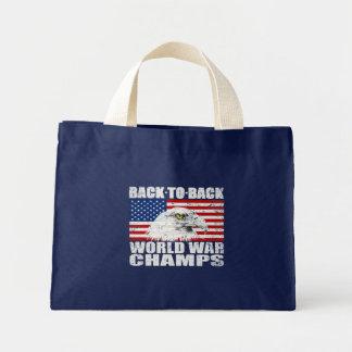 Vintage Worn World War Champs Eagle & US Flag Mini Tote Bag