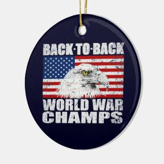 Vintage Worn World War Champs Eagle & US Flag Round Ceramic Decoration