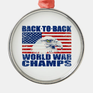 Vintage Worn World War Champs Eagle & US Flag Silver-Colored Round Decoration