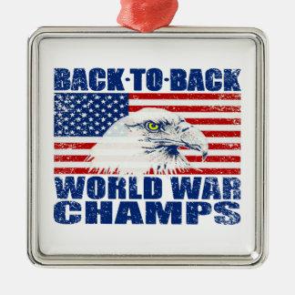 Vintage Worn World War Champs Eagle & US Flag Silver-Colored Square Decoration