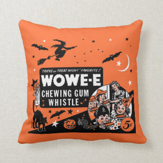 Vintage Wowee Chewing Gum Halloween Whistle WOWE-E Throw Pillow