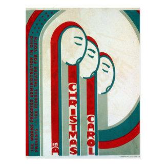 Vintage WPA Federal Theatre A Christmas Carol Postcard