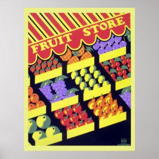 Vintage WPA Fruit Store Poster