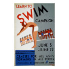 Vintage WPA Learn to Swim Campaign Poster
