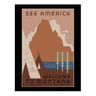 """""""Vintage WPA Montana Poster 2"""" Postcard"""