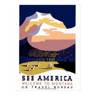 Vintage WPA Montana Poster 3 Post Cards