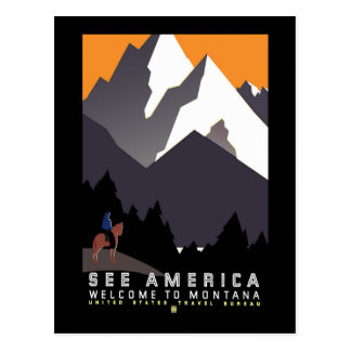 Vintage WPA Montana Poster Post Card