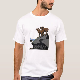 Vintage WPA National Parks T-Shirt: Rams on a Hil T-Shirt