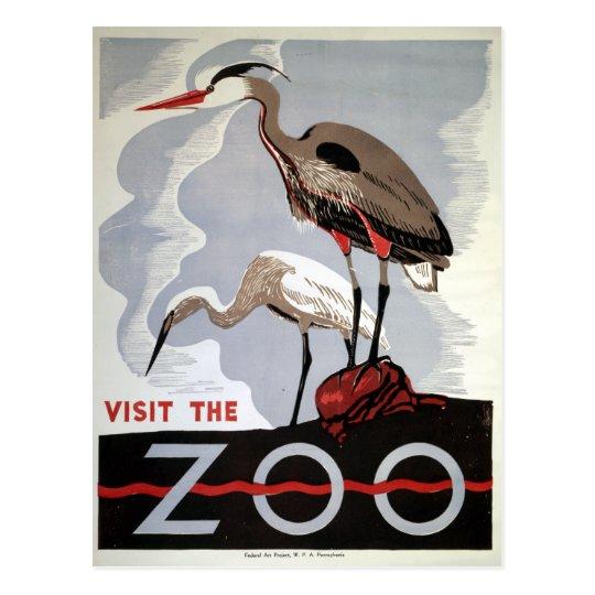 Vintage WPA Visit the Zoo Heron and Egret