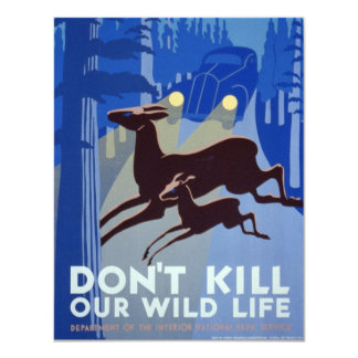 Vintage WPA Wildlife Conservation Poster 11 Cm X 14 Cm Invitation Card