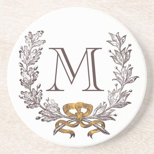 Vintage Wreath Personalised Monogram Initial Coaster