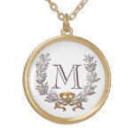 Vintage Wreath Personalised Monogram Initial Gold Round Pendant Necklace