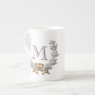 Vintage Wreath Personalized Monogram Initial Tea Cup