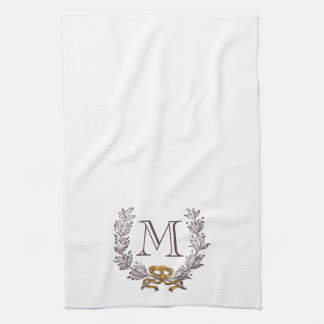 Vintage Wreath Personalized Monogram Initial Tea Towels