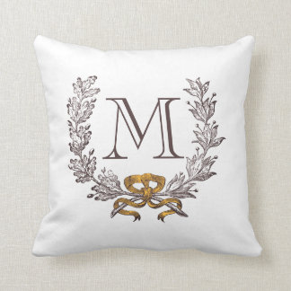 Vintage Wreath Personalized Monogram Initial Throw Pillow