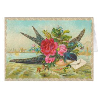 Vintage Wren Birthday Card