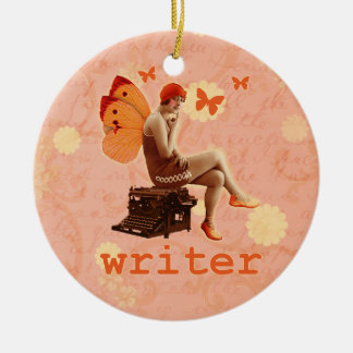 Vintage Writer Fairy with Typewriter Christmas Ornament