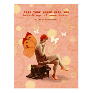 Vintage Writer Fairy with Typewriter Postcard
