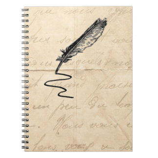 Vintage Writer's Feather Quill Notebook