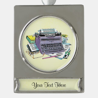 Vintage Writer's Tools Typewriter Paper Pencil Silver Plated Banner Ornament