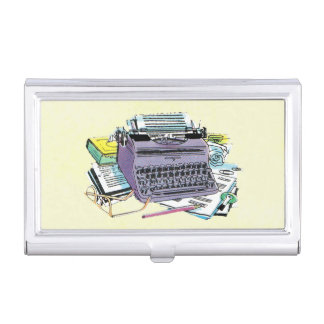 Vintage Writer's Tools Typewriter Paper Pencil Business Card Holder