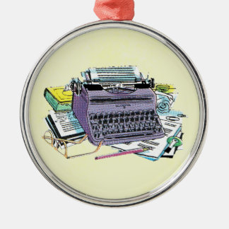 Vintage Writer's Tools Typewriter Paper Pencil Christmas Ornament