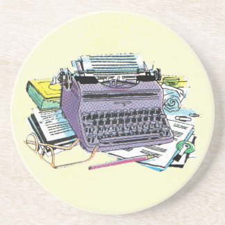 Vintage Writer's Tools Typewriter Paper Pencil Coaster