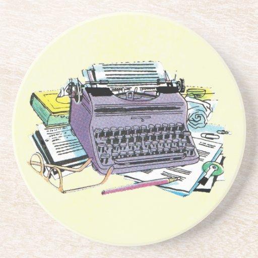 Vintage Writer's Tools Typewriter Paper Pencil Drink Coaster