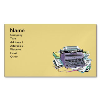 Vintage Writer's Tools Typewriter Paper Pencil Magnetic Business Cards