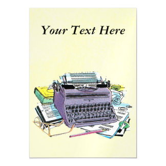 Vintage Writer's Tools Typewriter Paper Pencil Magnetic Invitations