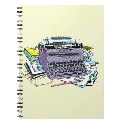 Vintage Writer's Tools Typewriter Paper Pencil Spiral Note Books