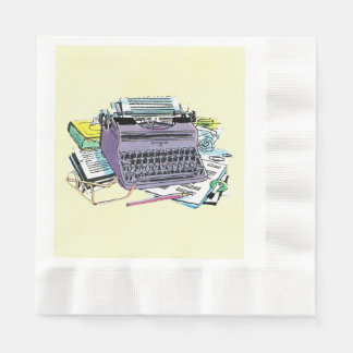Vintage Writer's Tools Typewriter Paper Pencil Coined Luncheon Napkin