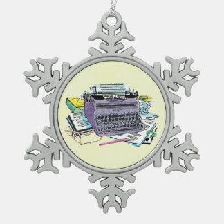 Vintage Writer's Tools Typewriter Paper Pencil Pewter Snowflake Decoration