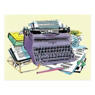 Vintage Writer's Tools Typewriter Paper Pencil Postcard