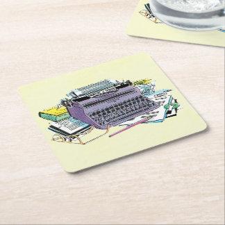 Vintage Writer's Tools Typewriter Paper Pencil Square Paper Coaster