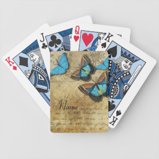 Vintage Writing and Butterflies Bicycle Playing Cards