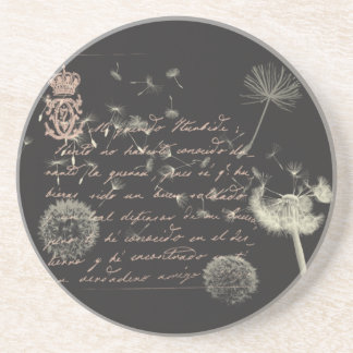 Vintage Writing Dandelion Coasters
