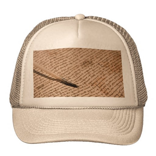 Vintage writing trucker hat
