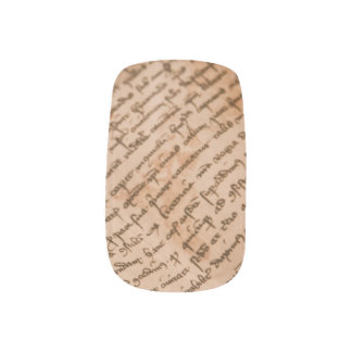 Vintage writing minx nail art