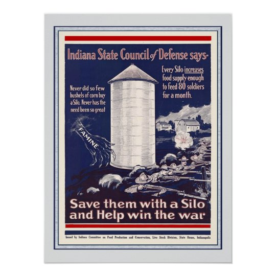 Vintage WW1 Indiana Corn Silo Patriotic Farmers Poster