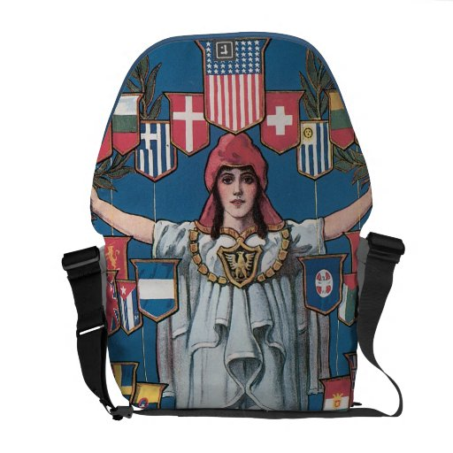 Vintage WW1 International Women World Flags Courier Bag