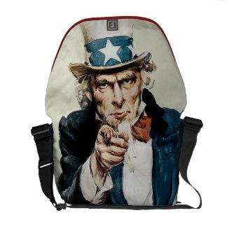 Vintage WW1 Patriotic Military Recruit Uncle Sam Courier Bags