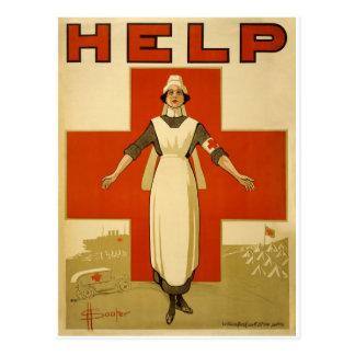 Vintage WW1 Red Cross Poster Postcard